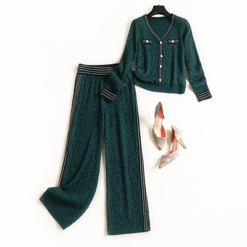 Women Designer Brand Winter Knitted Two Piece Set Sexy V Neck Lurex Pullovers Gold Button Tops Wide Leg Pant Suit Green Blue Leather Bag