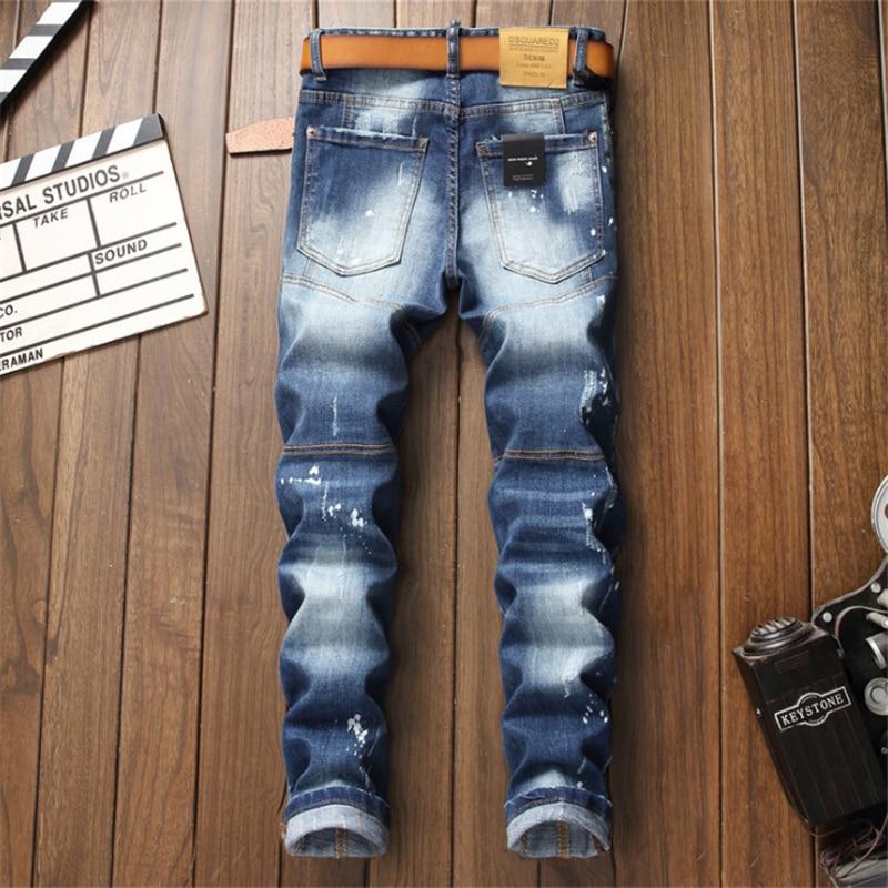 2021 wiosna nowy projektant DSQUARED2 męskie spodnie jeansowe D2 oddychające dorywczo spodnie uliczne DSQ2 męskie spodnie
