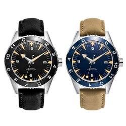 41mm sterylna tarcza do zegarka mężczyzna mewa/Miyota82 automatyczne amechaniczne zegarki wodoodporny świecący kalendarz szafirowe szkło Zegarki mechaniczne    -