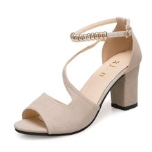 Women 8 Cm Thick High Heels Sandals Summer Open Toe High Heel Sandals PU Leather Pumps Shoes ksjywq open toe women leather platform sandals 10 cm heel wedges thick soles buckle pumps summer dress shoes box packing s1806