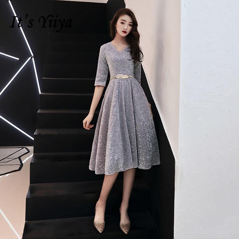 It's YiiYa Prom Dresses V-neck Half Sleeve Prom Dress Elegant Sequined Plus Size Knee Length Vestidos De Gala For Women K148