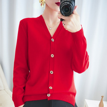 LHZSYY Autumn Winter New Womens Knitted V-Neck Cardigan Sweater Casual Star Buckle Large Size Bottoming shirt Warm Wild Blouse