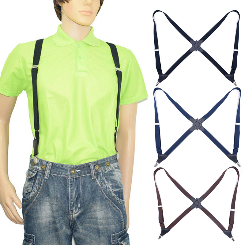 Back Suspenders For Men Women With Heavy Duty Clips Wide Adjustable Elastic Braces For Casual JL