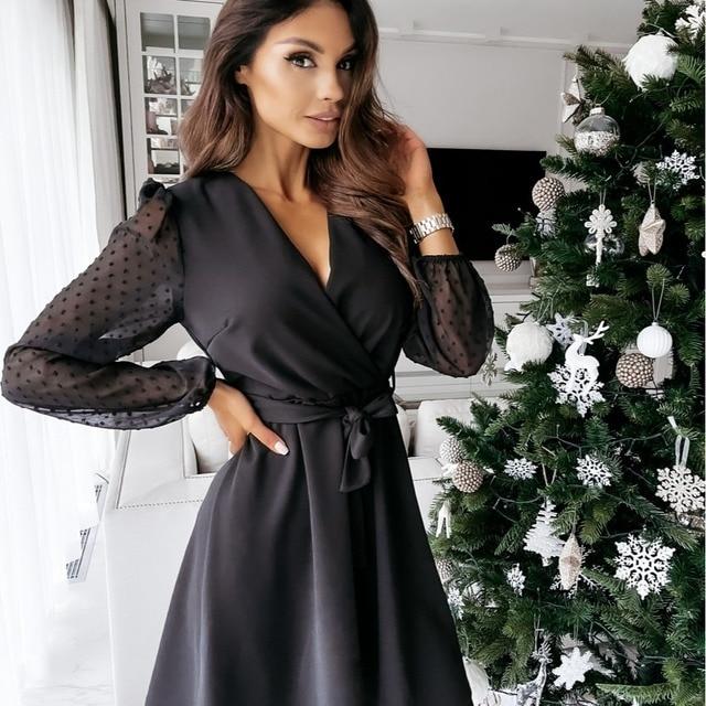 2021 Women Summer Dress Fashion V-neck Lace Sleeves High Waist A-line Dresses Office Ladies Solid Clothes Belt Slim Black Dress 1