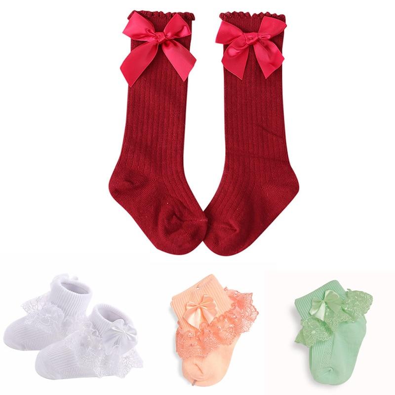 Newborn Baby Girls Socks Winter Kids Newborn Cotton Bow Knee High Long Tube Sock Princess Infant Long Socks For Baby