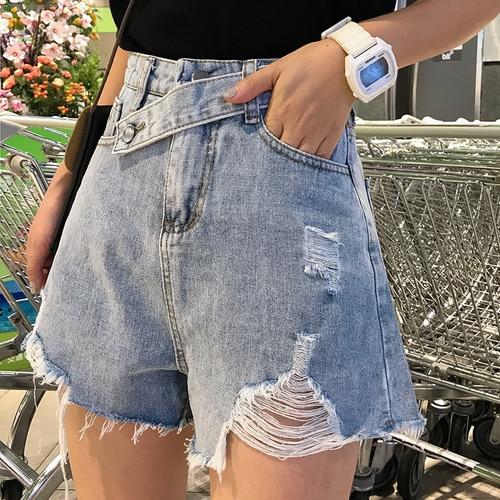 New Streetwear Hole Denim Shorts For Women 2020 Summer High Waist Ripped Shorts Tassel Pockets Irregularity Short Jeans