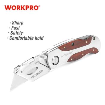 WORKPRO Folding Knife Heavy Duty Knife Pipe Cutter Stainless Steel Utility Knife with Red Rosewood Handle red wood rosewood logs african yellow rosewood knife handle bars african timber