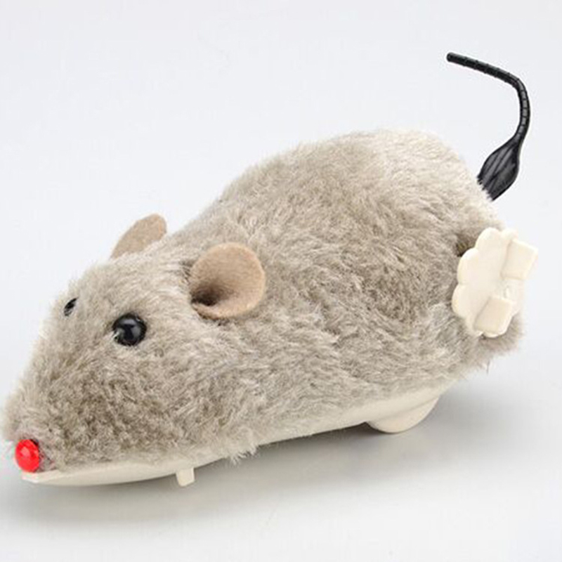 Selling Realistic Mouse Spoof Child Toy Plush Clockwork Running Rat Pet Cat And Dog Chasing Supplies Tail Shaking, Fast Running