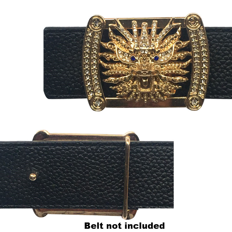 Luxury Solid Brass Hard Traditional Chinese Dragon Head Icon Belt Buckles Accessories For Western Men Heavey Metal Belts