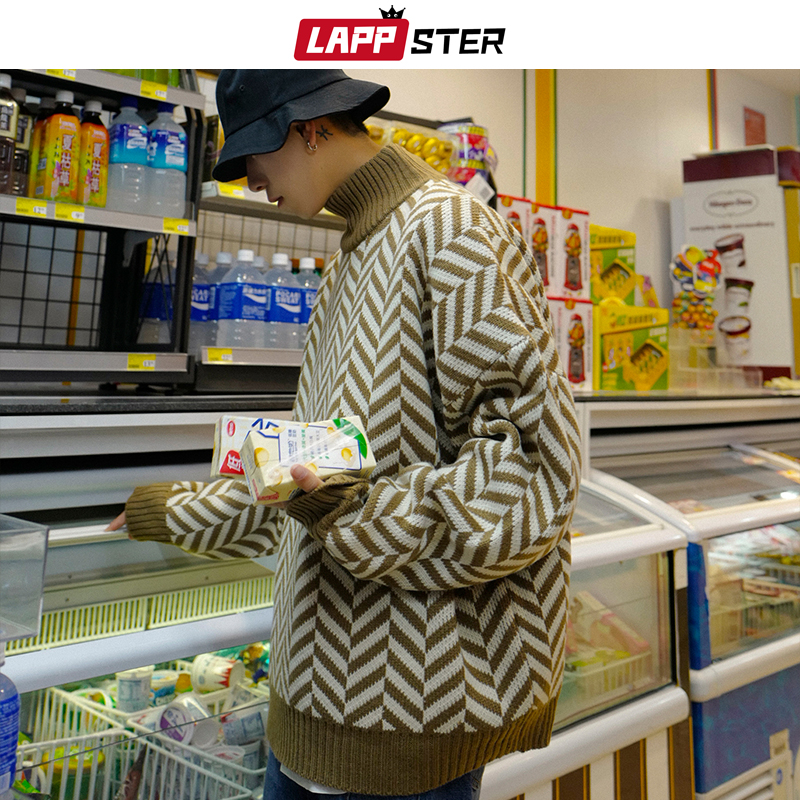LAPPSTER Striped Harajuku Sweater Turtleneck Men 2020 Winter Korean Fashion Streetwear Sweater Male Streetwear Pullover Clothing