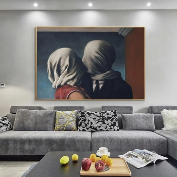 The Lover Surrealism Painting by Rene Magritte Printed on Canvas 1