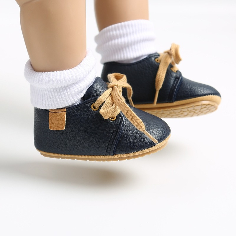 Luxury Soft Leather Baby Moccasins Shoes Newborn Rubber Sole First Walkers Boys Toddler Shoes Infant Girls Anti-slip Prewalkers 4
