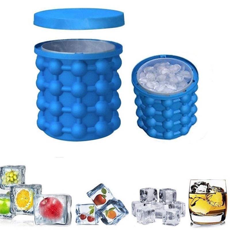 Silicone Ice Cube Maker Portable Bucket Wine Ice Cooler Beer Cabinet Space Saving Kitchen Tools Drinking Whiskey Freeze(China)