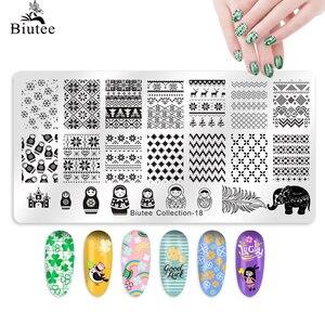 Image 2 - Biutee Nail Stamping Plates Stamper Scraper Nail Template Flowers Geometric Patterns DIY Nail Designs Manicure Stamp Plate