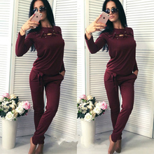 2020 Women Sports Sets Two Pieces Sweatshirts And Sweatpants Set Hollow Out Tracksuit Casual Fitness Running Clothing Sets