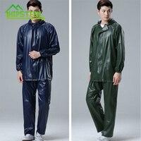 High Elasticity PVC Suit Two Parts Raintcoat Rain proof Pants Color Random Free Size