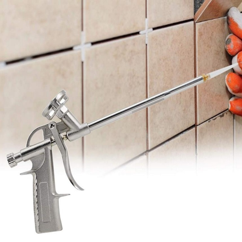Silver Caulking Foaming Gun Foam Sprayer PU Grade Expanding Spray Application Applicator