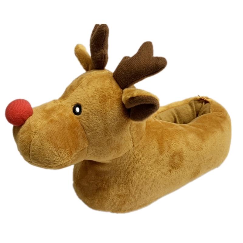 KushyShoo Women Shoes Cute Women Slippers Anti-skid Home Indoor Christmas 3D Animal Reindeer Furry Slippers Zapatos De Mujer