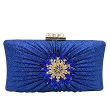 Boutique De FGG Elegant Women Flower Evening Bags and Clutches Blue Glitter Wedding Handbags Bridal Party Bags