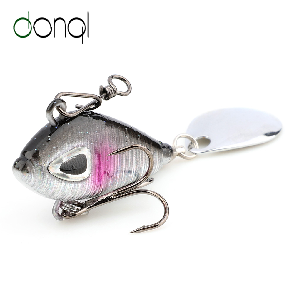 Rotate Spoon Metal Treble Hook Wobblers Crankbaits VIB Lure Metal Fishing Bait