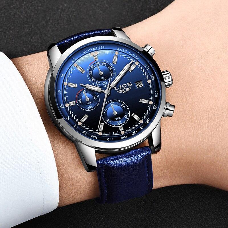 2019 LIGE nouvelle mode hommes montres analogique Quartz montres 30M étanche chronographe sport Date en cuir montres Montre Homme 4