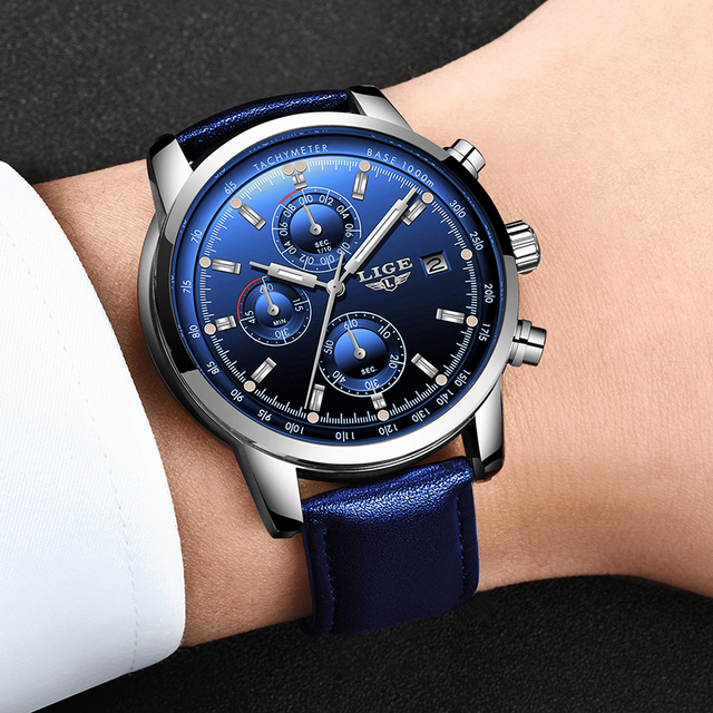 2020 LIGE New Fashion Men Watches Analog Quartz Wristwatches 30M Waterproof Chronograph Sports Date Leather Watches Montre Homme
