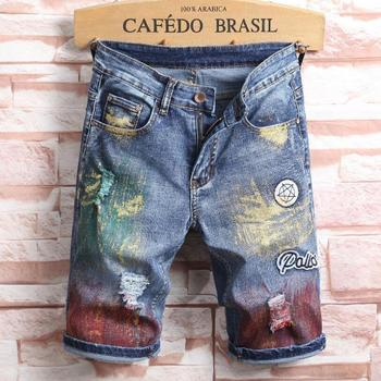 Summer Casual Shorts Men Thin Section Denim Shorts Men Straight Fashion Cotton Painted Knee Length Denim Shorts фото