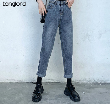 Tonglord 2020 Autumn New Straight-legged Jeans Women Casual Loose High Waist Slim Slim Old Pants Wild Fashion Jeans Woman 2019 autumn new loose cotton bomb fashion trend wild high waist jeans woman multi pocket zipper hole straight denim pants women