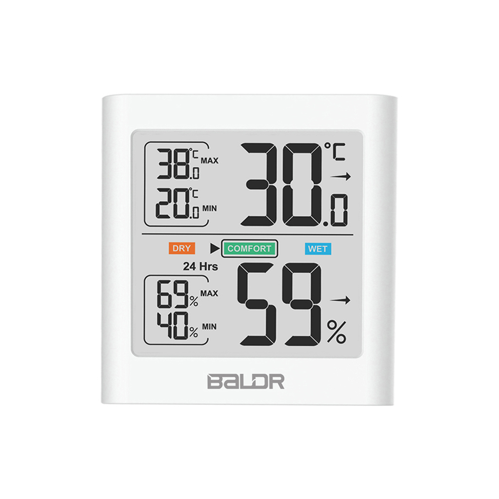 Baldr Digital LCD Display Indoor Thermometer Hygrometer Thermo-hygrometer with Smart Backlight Meter Weather Station Tester