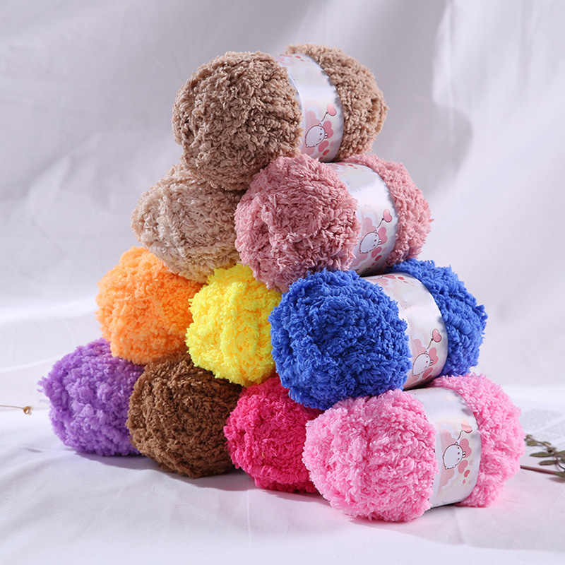 겨울 담요 스웨터 액세서리에 대 한 다채로운 두꺼운 크로 셰 뜨개질 원사에 대 한 50g/공 양모 두꺼운 산호 벨벳 원사