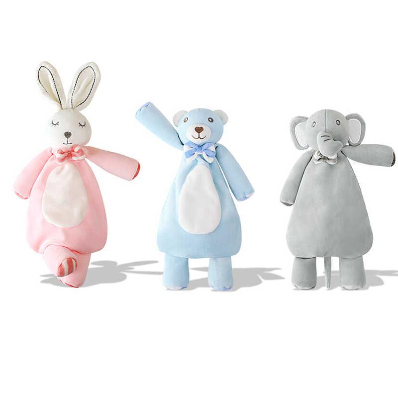 Neugeborenen Baby Plüsch Spielzeug Cartoon Tier Bär Beruhigen Beschwichtigen Handtuch Mit Rassel Weichen Decken Tröstlich Handtuch Schlaf Spielzeug