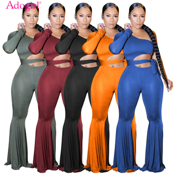 Adogirl Women Solid One Shoulder Flare Jumpsuit with Detachable Belt Hollow Out Long Sleeve Bell Bottom Romper Party Overall