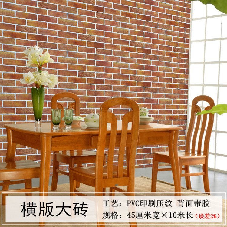 Image 4 - 3D retro industrial style imitation brick pattern self adhesive wallpaper restaurant restaurant bar red brick wall paperWallpapers   -