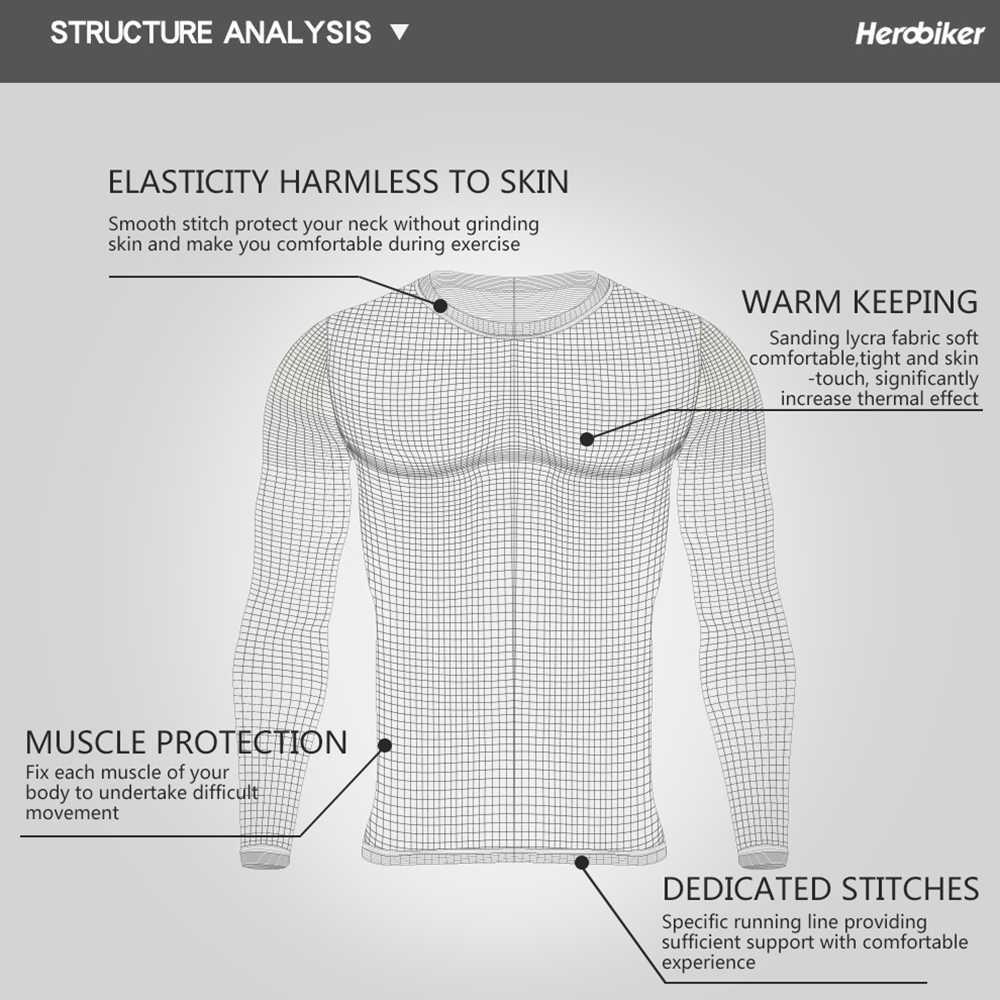 HEROBIKER Sepeda Motor Pakaian Dalam Termal Set Pria Sepeda Motor Ski Musim Dingin Hangat Lapisan Dasar Ketat Panjang Johns Atasan & Celana Set