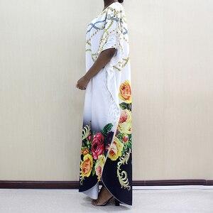 Image 2 - Новое модное Африканское платье Дашики с круглым вырезом и принтом из полиэстера с рукавом летучая мышь благородное длинное платье для женщин элегантное