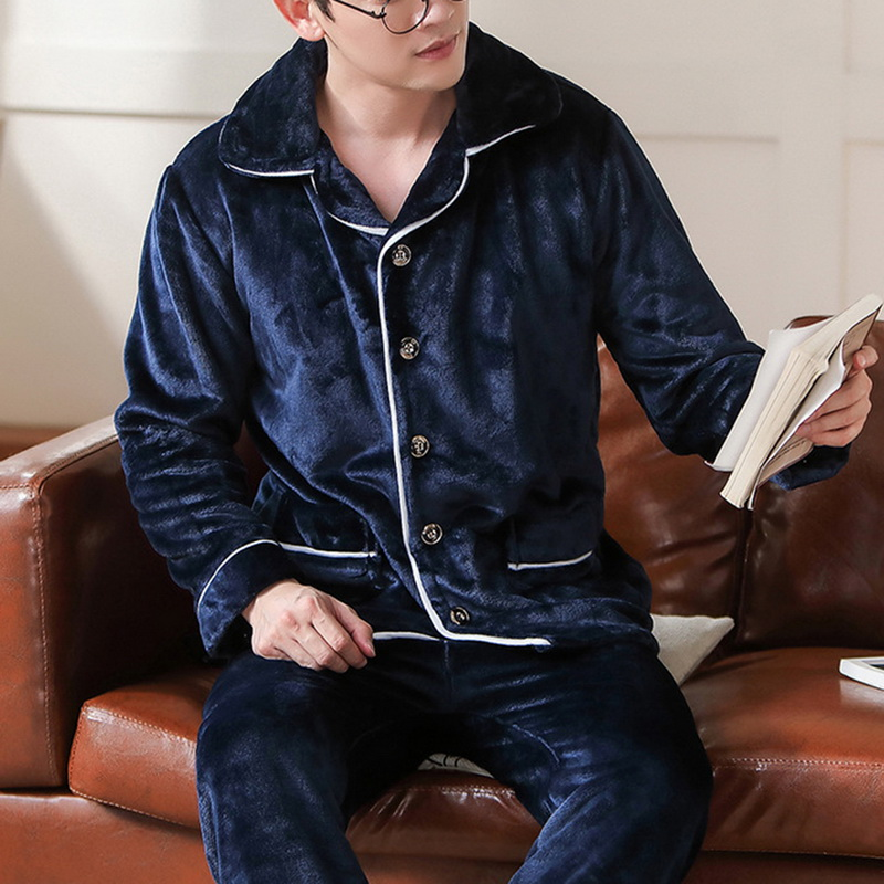 Sfit 2020 Spring Thick Warm Blue Flannel Pajama Sets For Men Long Sleeve Velvet Sleepwear Suit Loungewear Home Clothes
