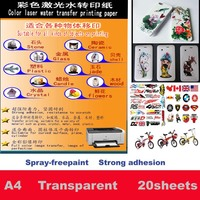 No Need coating oil/spray Laser clear/transparent Water Slide Waterslide Decal Paper color laser   Water Transfer Paper|  -