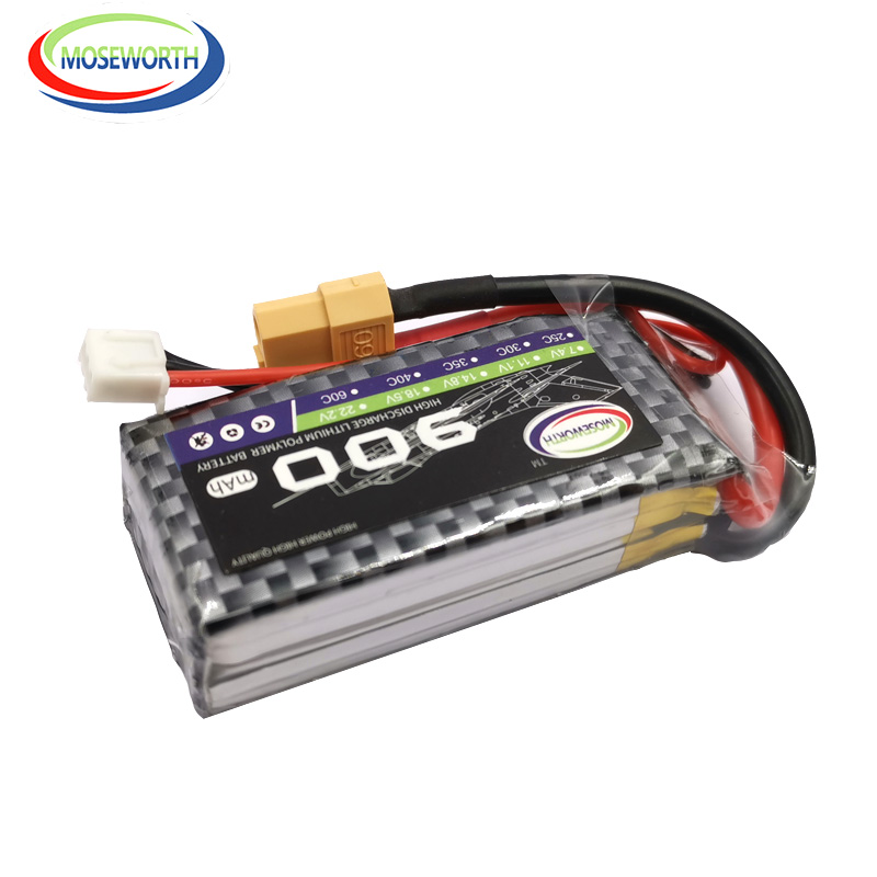 2PCS/Pack RC LiPo Battery 2S <font><b>7.4V</b></font> <font><b>900mAh</b></font> 25C For RC Airplane Drone Helicopter Quadrotor RC Batteries Lithium Polymer <font><b>7.4V</b></font> image