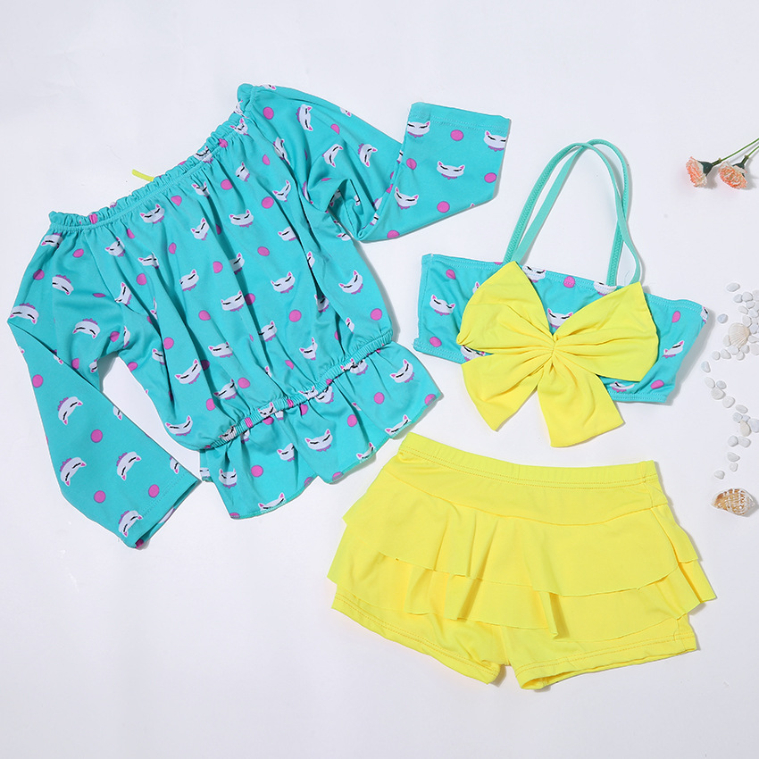 New Style KID'S Swimwear GIRL'S Swimsuit Two-piece Swimsuits Large Bow Three-piece Set Bikini CHILDREN'S Swimsuit Wholesale