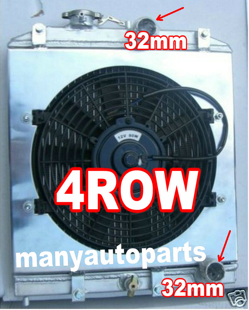 4ROW Aluminum Radiator 1992-2000 FOR Honda Civic CRX DEL SOL EK EG D15 D16 B16 B18 + FAN Shroud 93 94 95 96 97 98 32mm Pipe