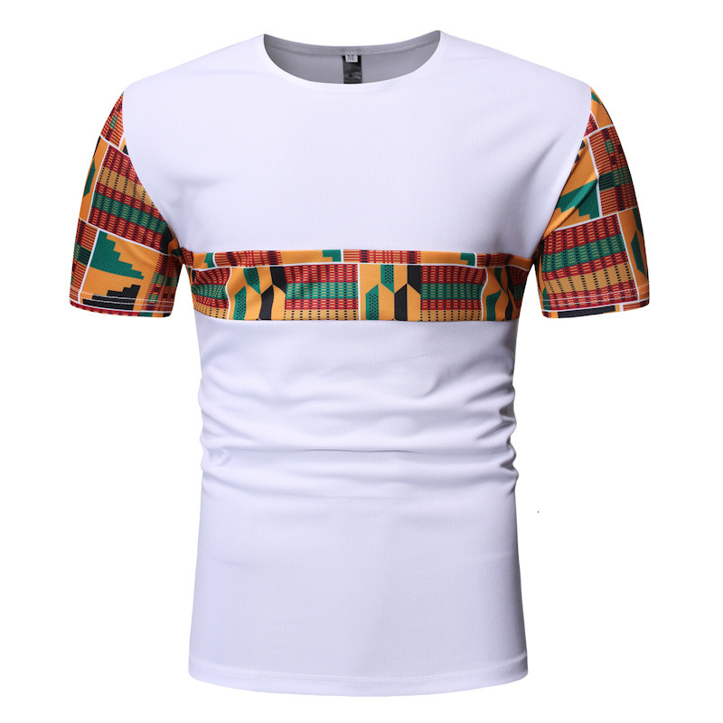 Fashion African Dashiki Cotton Tee Tops Men Short Sleeve Ankara Print T-Shirt Streetwear Bazin Blouse Vestido Africano Clothes