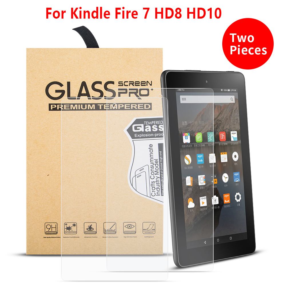 2PCS/Lot Ultra Clear Screen Protectors Film  Funda For Amazon Kindle Fire HD 7 8 10 2019 2018 2017 Tempered Glass Guard