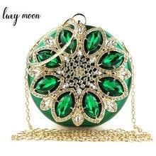 Зеленый клатч, Женский Круглый клатч, кошелек, вечерняя сумка, Свадебный Кошелек с кристаллами и сумочка, Изысканная сумка на плечо с цепочкой ZD1244