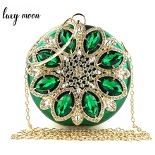 Zielona kopertówka damska okrągłe saszetki torebka torba wieczorowa kryształowa torebka ślubna i torebka wykwintna łańcuszkowa torba na ramię ZD1244