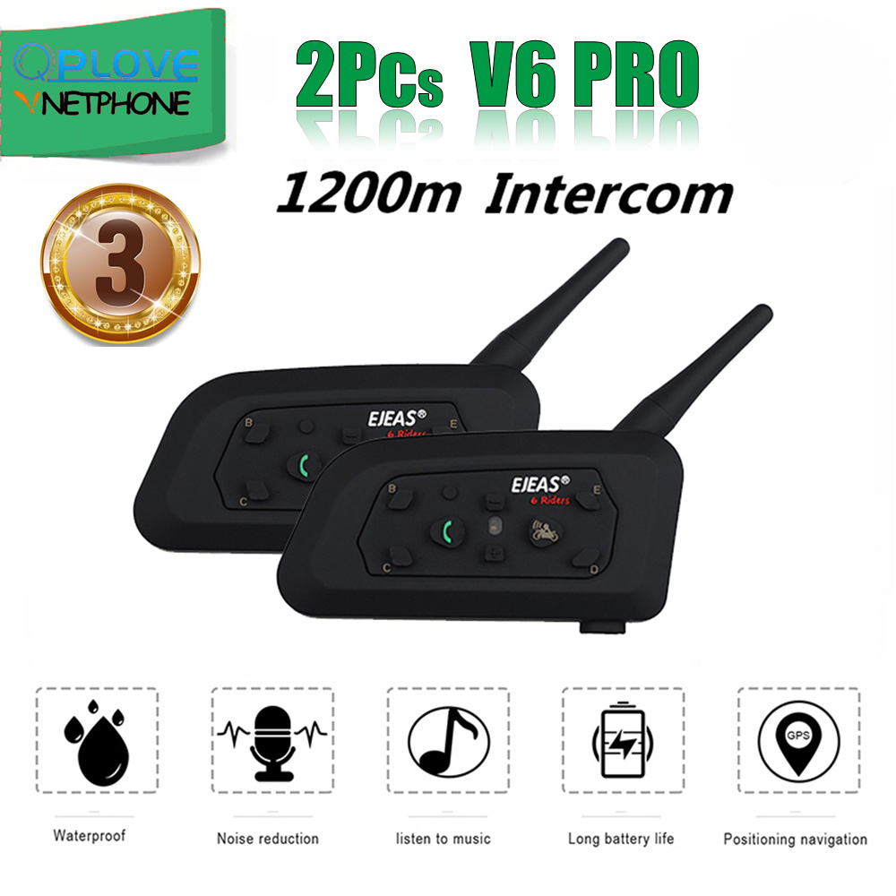 QPLOVE 2pcs EJEAS V6 Pro Intercom 1200m Wireless  Motorcycle Bluetooth Helmet Headset Long Distance 6 Riders Talking