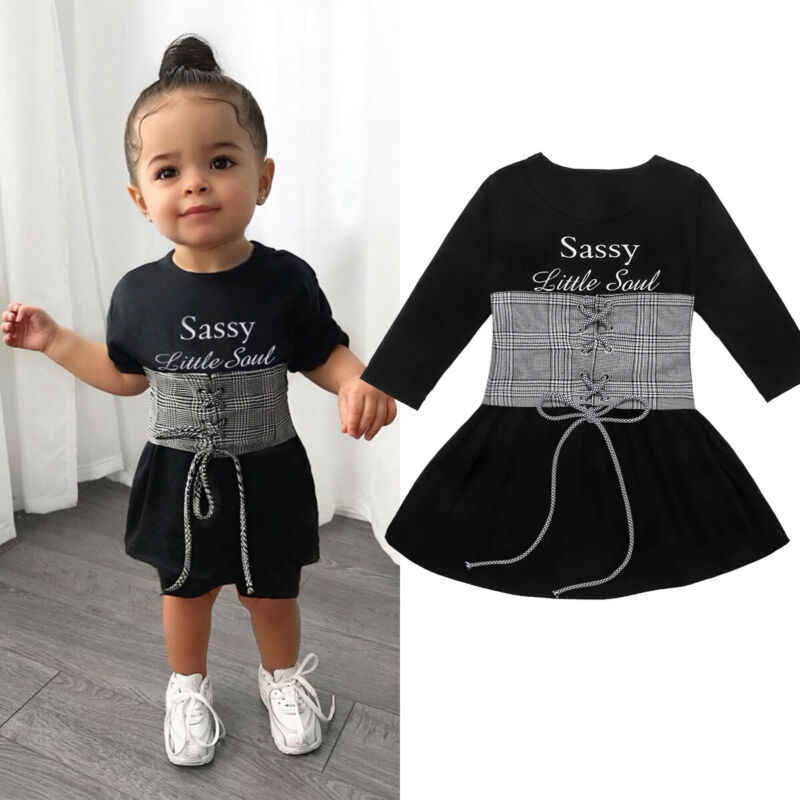 2020 New Kids Baby Girls Dress 2Pcs Long Sleeve Letters Print Bodycon Dress+Lace Up Bandage Vest Cotton Outfits Clothes