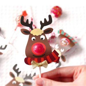 Image 4 - 25 個紙ロリポップカバーヘラジカデザイン誕生日の結婚式のキャンディーケーキ装飾ツールクリスマスのギフト包装箱