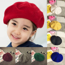 Girls Boys Kids New Wool Warm Beret Casual Baby Winter Hats Wool Painter Children Bonnet Caps Solid 13 Colors Hot Sale 2019(China)