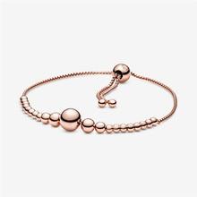 String of Beads Charm Bracelet Femme Fashion Rose Golden Jewelry Gift Adjustable Chain Bracelets for