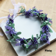 purple rattan lavender bride headband High Quality Artificial Simulation Flower Wreath For holiday Wedding Party Decor цена и фото